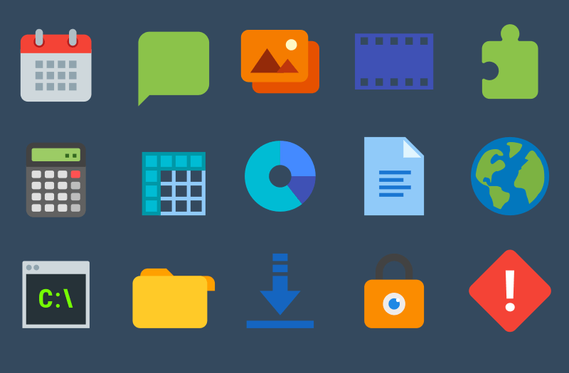 rows of linux app icons